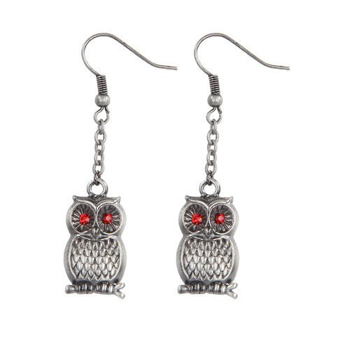 Wise Owl Pewter Earrings Jewelry- Mystica Collection by Pacific Giftware