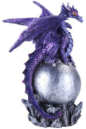Pacific Giftware Small Winged Guardian Purple Dragon on Orb
