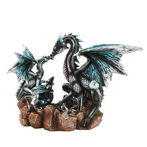10.5 Inch Black and Blue Dragon Family Mystical Statue Figurine
