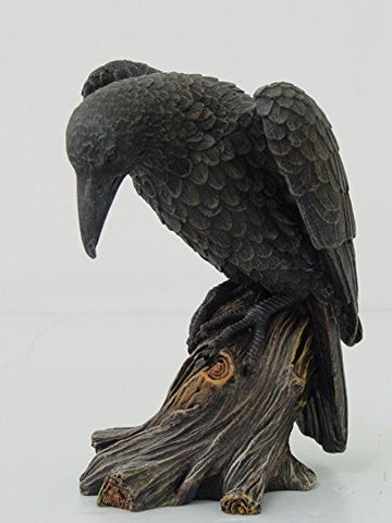 7.5 Inch Dark Raven on Large Tree Platform Resin Statue Figurine