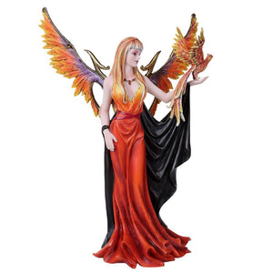 Pacific Giftware Golden Phoenix Rising Taking Flight With Mystical Witch Fairy Collectible Figurine 15 Inch Tall