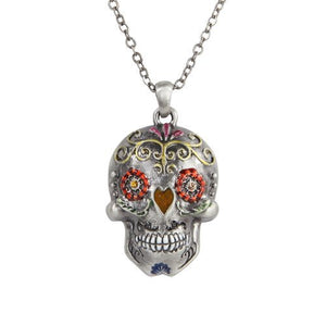 The Day of the Dead Flower Sugar Skulls Necklace Jewelry