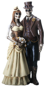 YTC 8 Inch Steampunk Skeleton Wedding Couple Statue Figurine, Brown