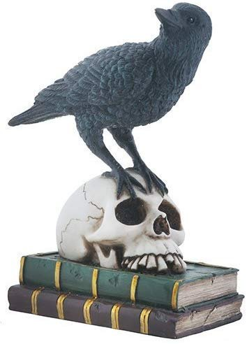 YTC Quoth The Black Raven on Skeleton Skull and Books Decorative Statue
