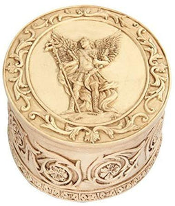 PTC 5 Inch Saint Gabriel Engraved Circular Jewelry/Trinket Box Figurine