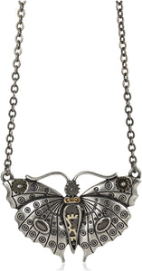 STEAMPUNK BUTTERFLY NECKLACE PENDANT PEWTER ALLOY
