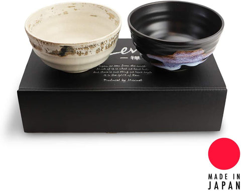 "Made in Japan 5"" Traditional Earthtone Japanese Zen Bowl Set Multi Purpose Tableware Soup Udon Noodles Bowl Set of 2"