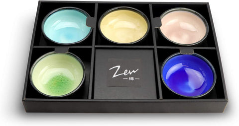 "Made in Japan 4"" Japanese Zen Ceramic Sushi Dishes Soy Sauce Dish Seasoning Saucers Plates Vinegar Salad Wasabi Plate Gravy Sauce Cup Set of 5"