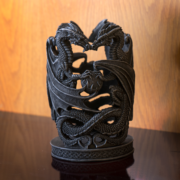 Upright Winged Dragons with Flaming Pearl Celtic Gothic Resin Candle Holder Decorative Accent
