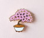 Maple Bonsai Pin - White or Black