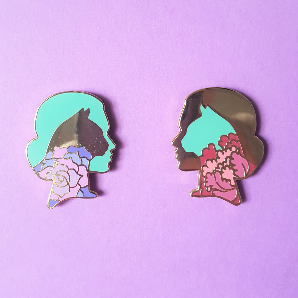 Flower Cat Woman Pin