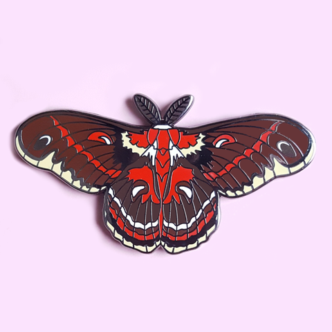 Cecropia Moth Pin - Pink/Brown Variants