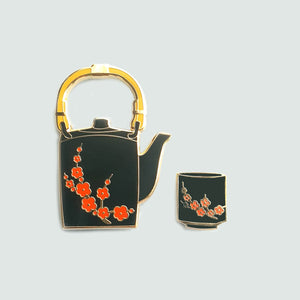 Black Sakura Tea Pin Set