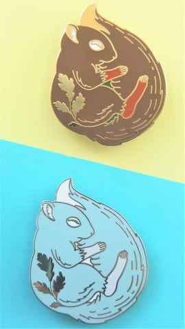 Sleeping Squirrel Enamel Pin
