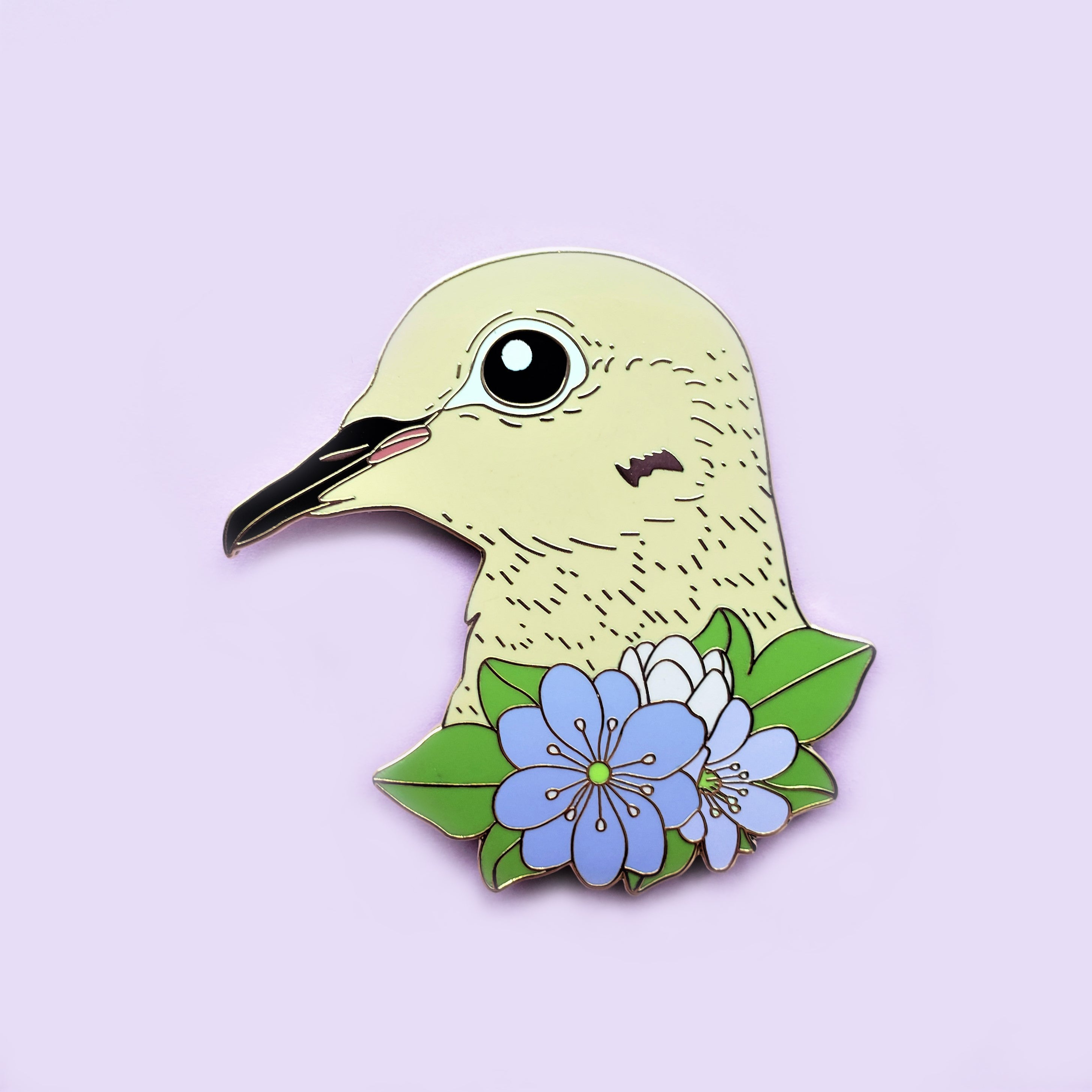 Mourning Dove with Hepatica Flower Enamel Pin