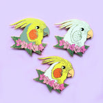 Cockatiel with Lacebark Flowers Enamel Pin