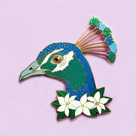 XL Peacock Enamel Pin