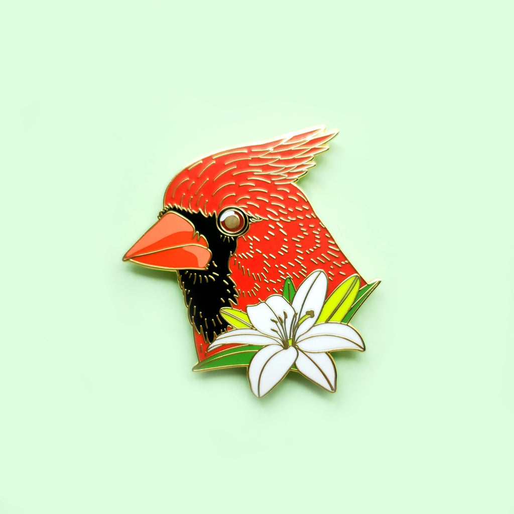 Cardinal with Lilly Enamel Pin