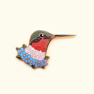 Ruby Throated Hummingbird Pin