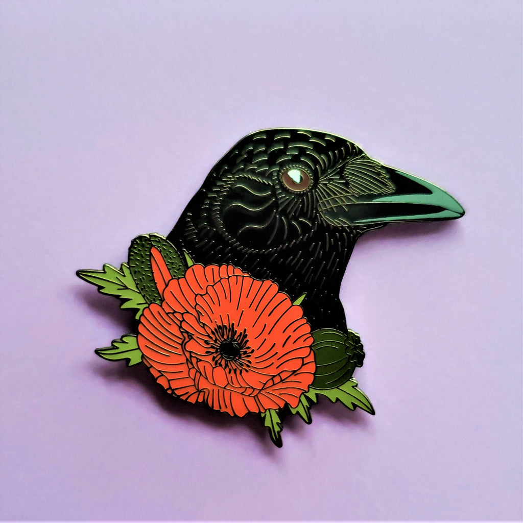 Crow with Poppy Flower Enamel Pin