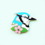 Blue Jay with Apple Tree Blossoms Enamel Pin