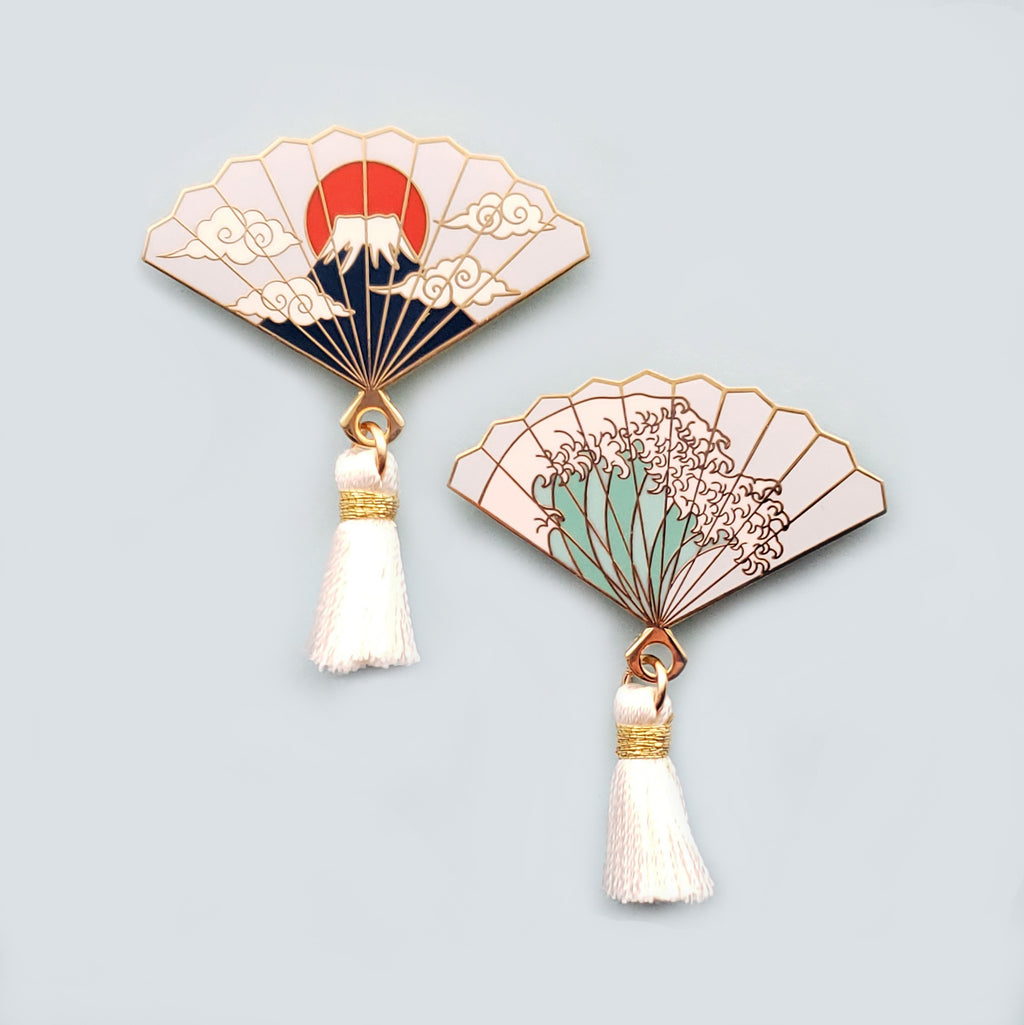 Mt. Fuji and/or The Great Wave Hand Fan Enamel Pins