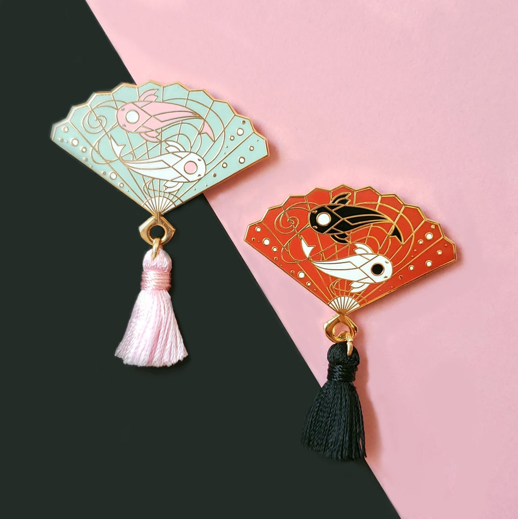 Koi Hand Fan Enamel Pin