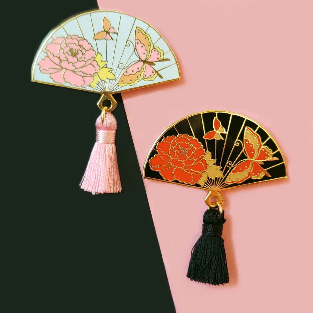 Butterfly Hand Fan Enamel Pin