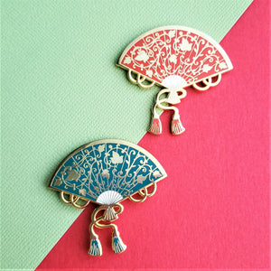 Elegant Vines Hand Fan Enamel Pin