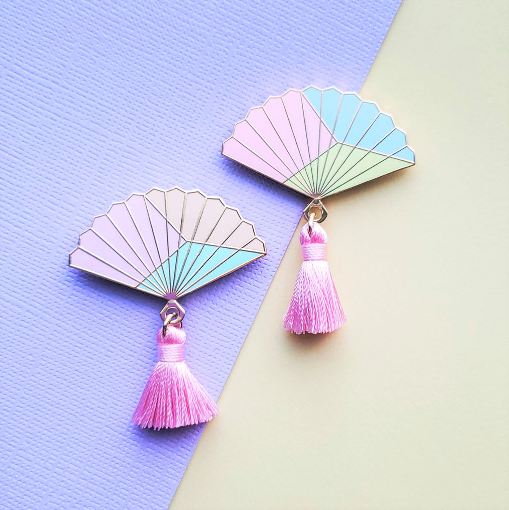 CLEARANCE Color Blocked Hand Fan Enamel Pin