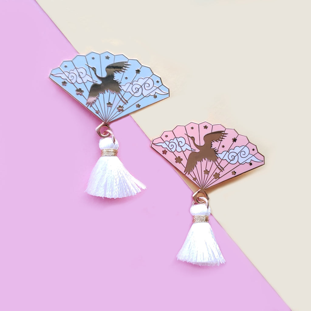 Crane Hand Fan Enamel Pin