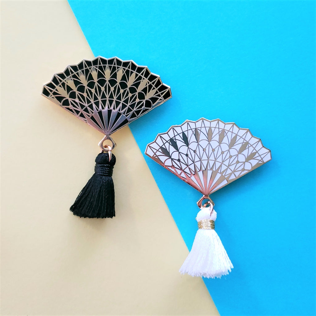 Intricate Hand Fan Enamel Pin