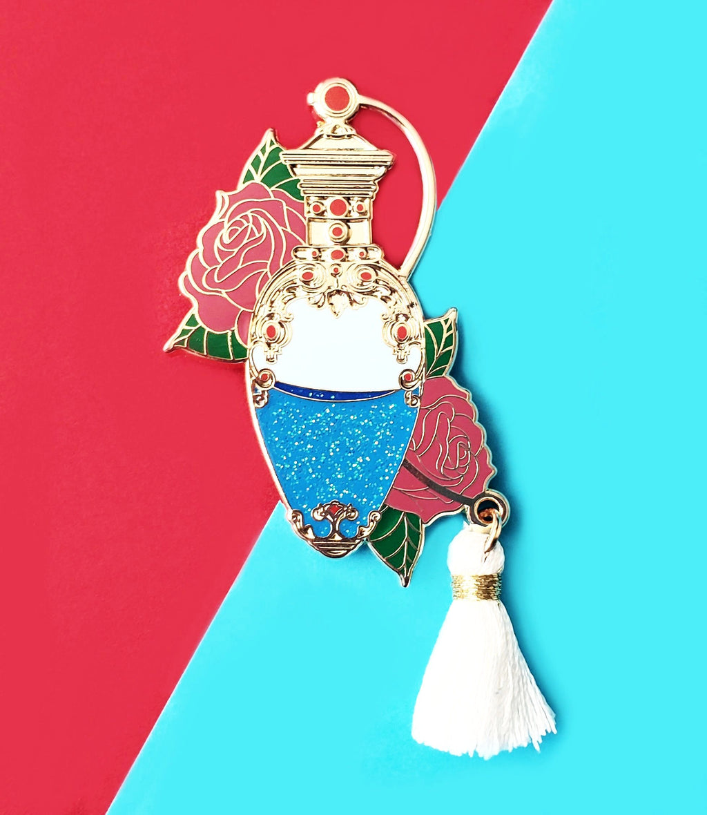 Rose Perfume Bottle Enamel Pin