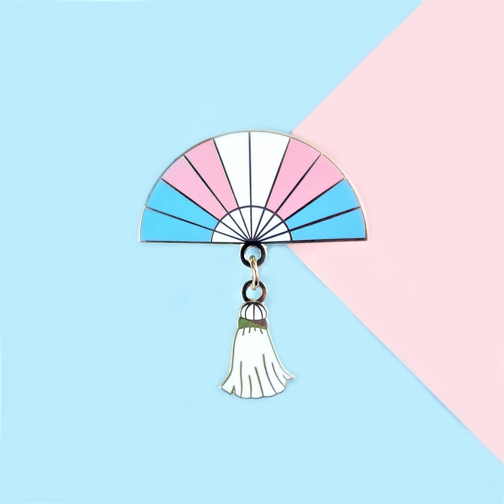 Trans Pride Hand Fan Pin
