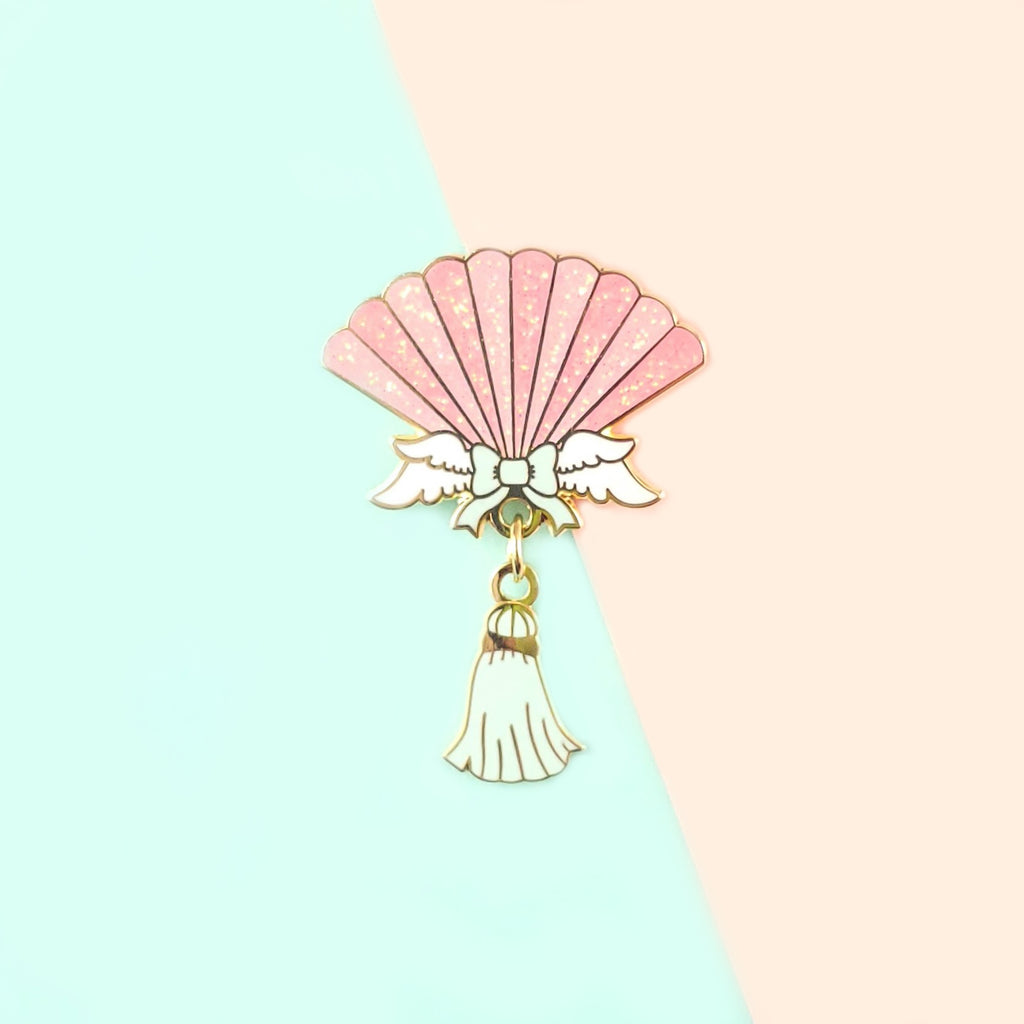 Seashell Hand Fan Pin