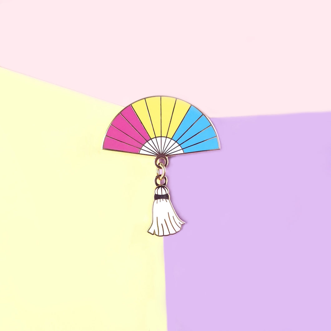 Pansexual Pride Hand Fan Pin - Charity Pin