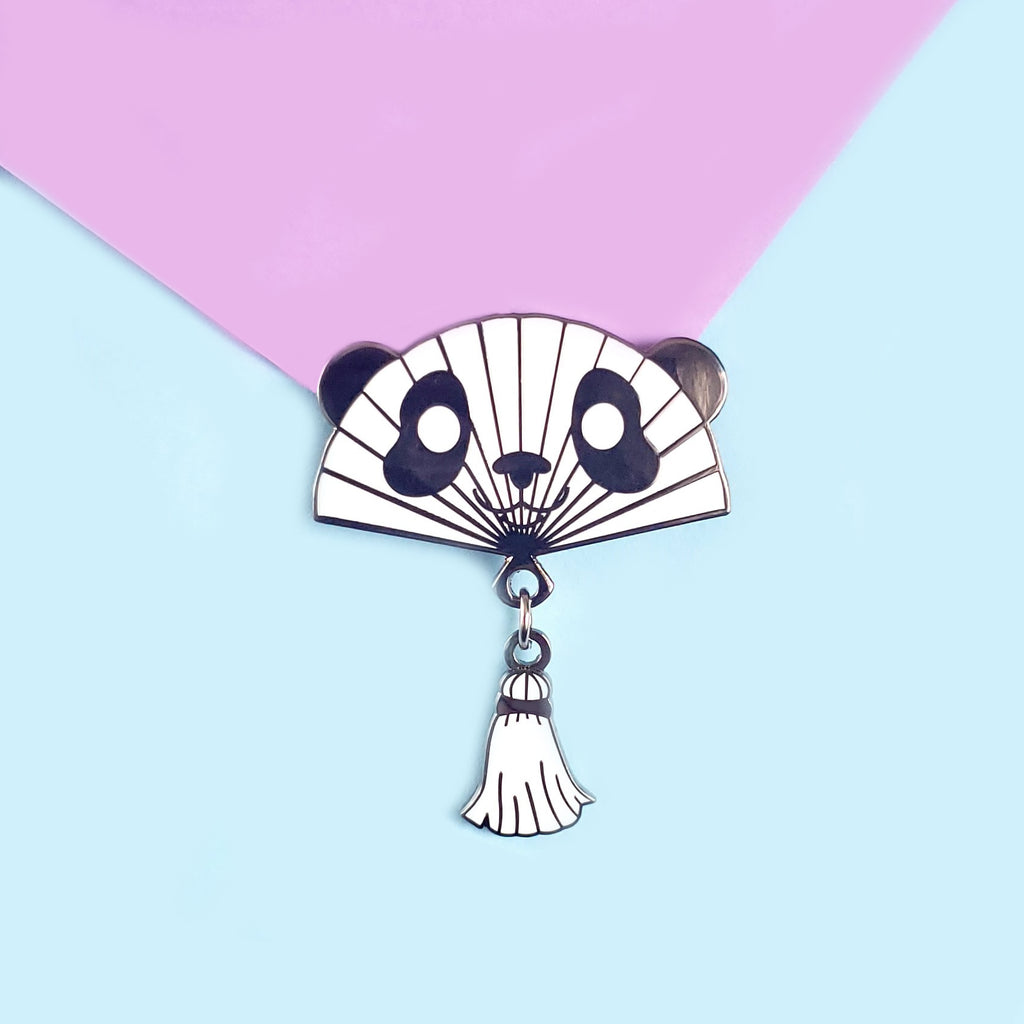 Panda Hand Fan Enamel Pin