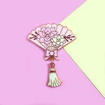 Succulent Hand Fan Pin
