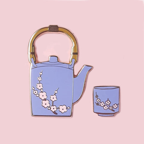Purple Sakura Tea Pin Set