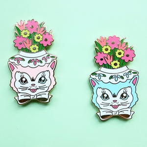 Sale CLEARANCE Vintage Inspired Kitty Planter Pins