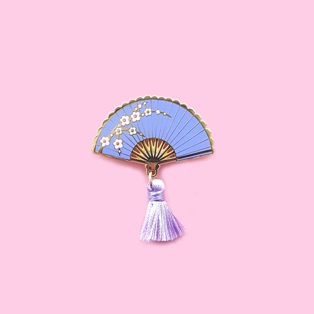 Purple Sakura Hand Fan Pin