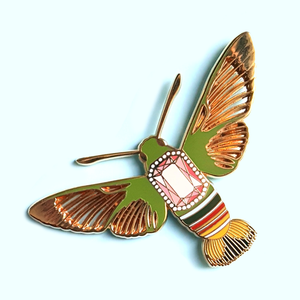 Clearance Sale - Hummingbird Moth Stained Glass Pin