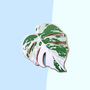 Variegated Monstera Leaf Enamel Pin