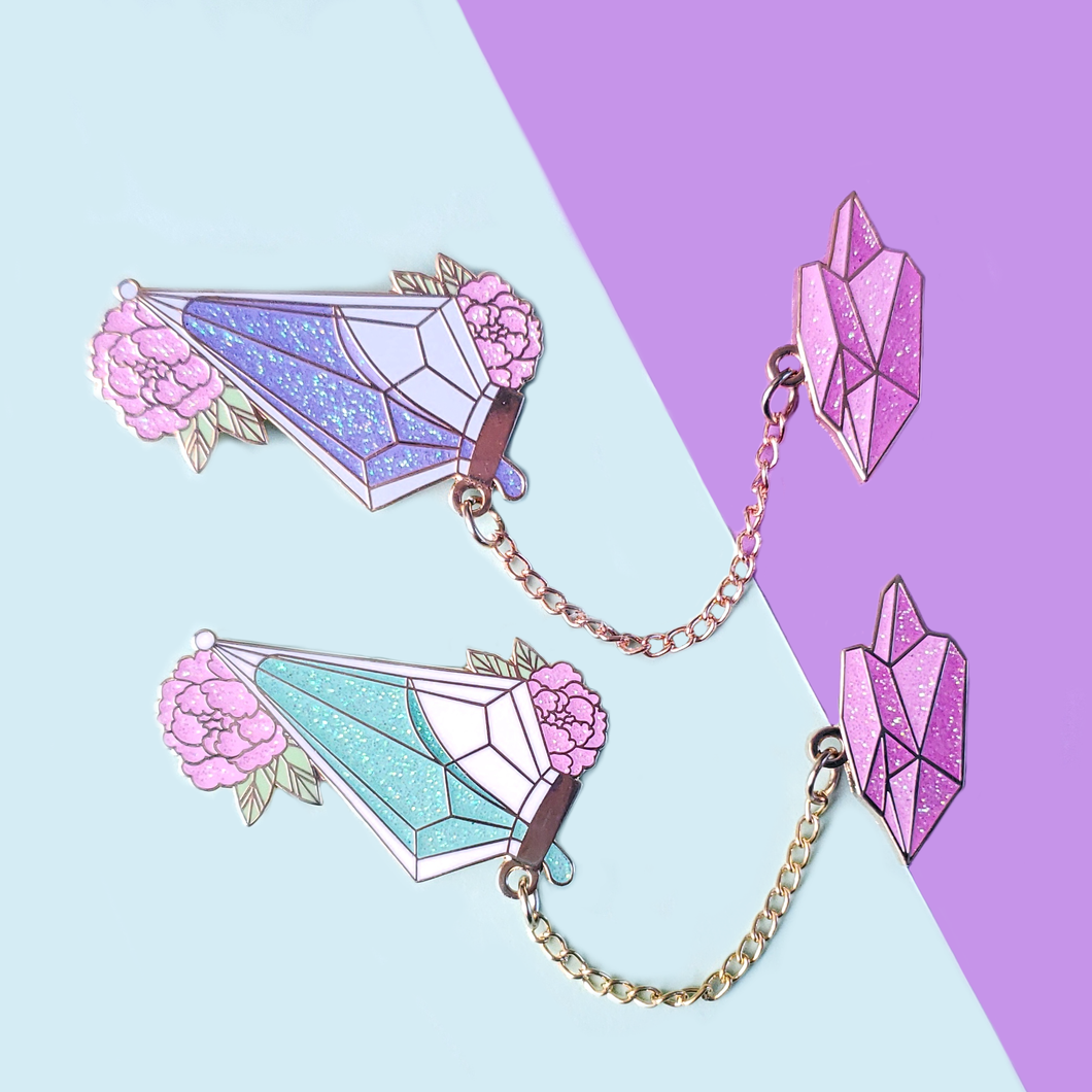 Potion with Crystal Topper Enamel Pin Set