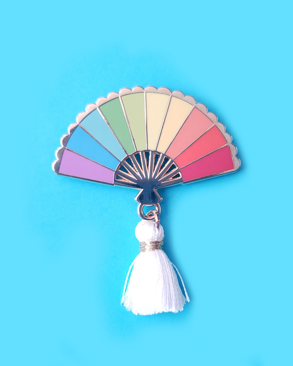Rainbow Hand Fan Enamel Pin