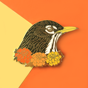 American Robin with Marigolds Enamel Pin