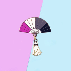 Asexual Pride Hand Fan Pin - Charity Pin