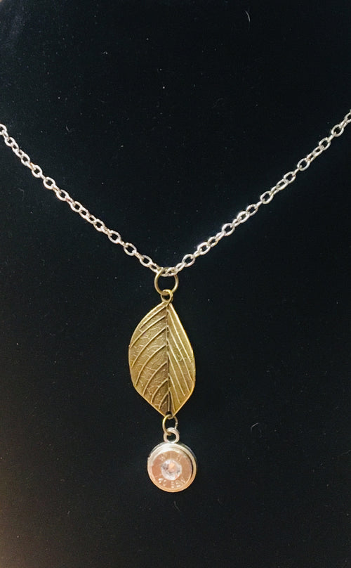 Leaf Bullet Slice Necklace