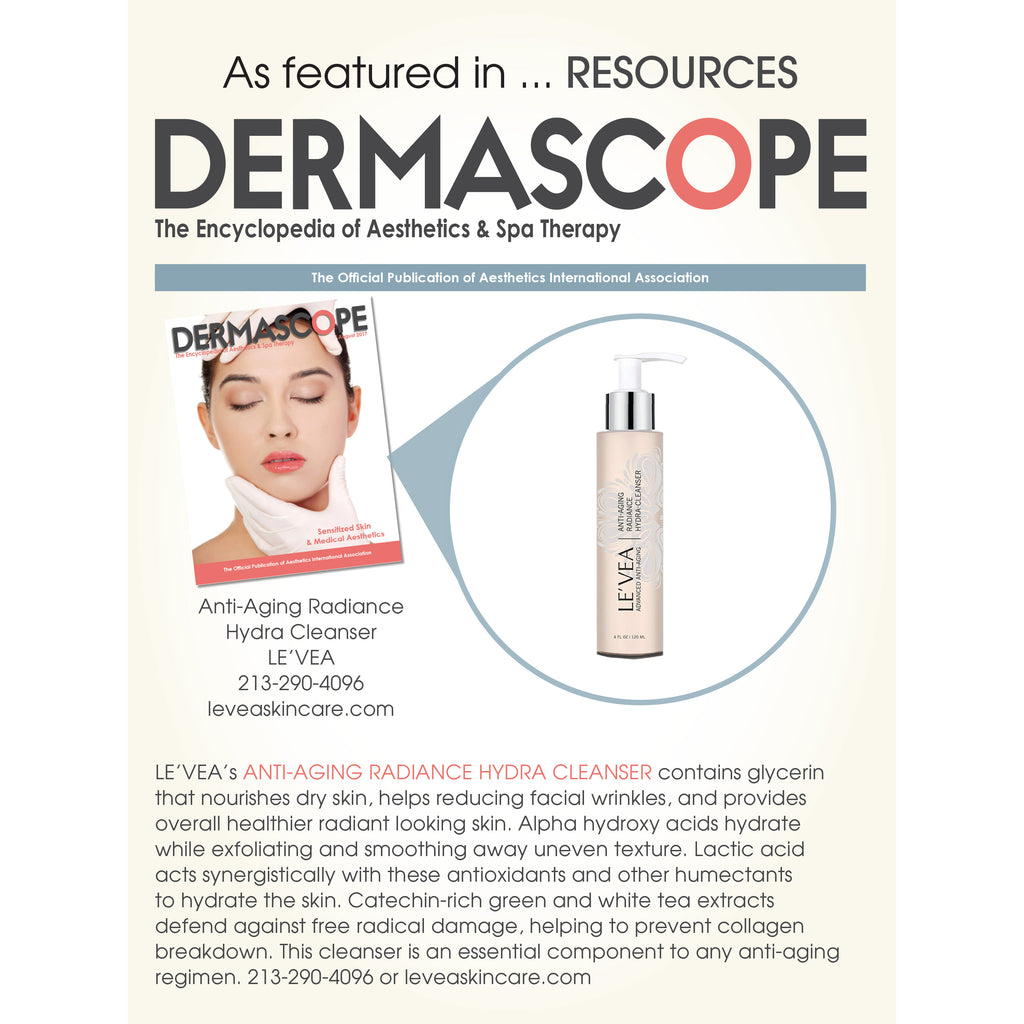 Anti-Aging Cleanser on Dermascope Magazine Aug 2017