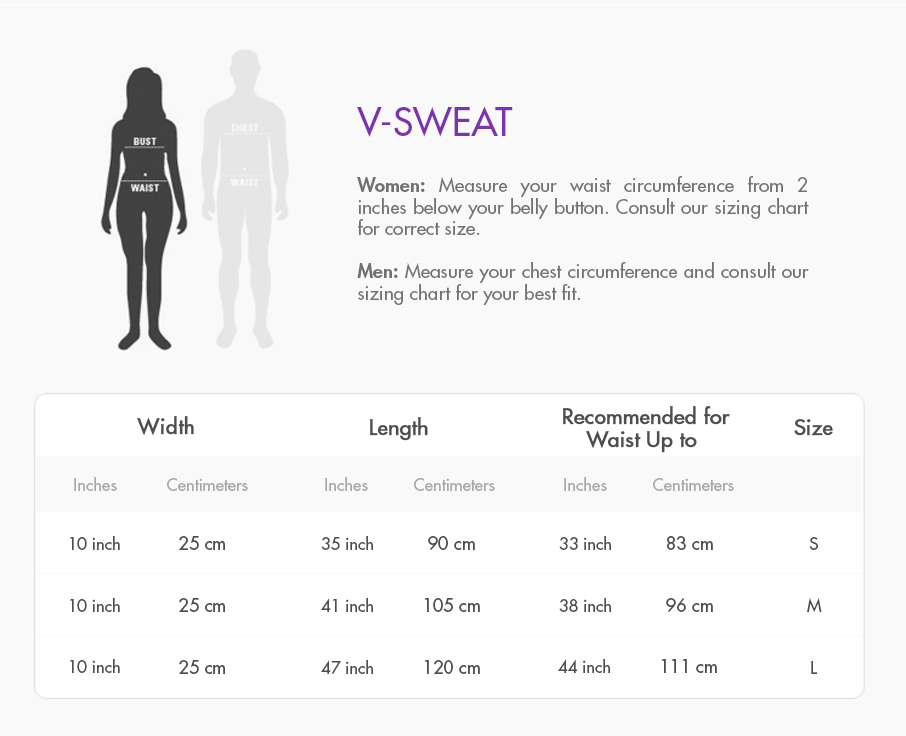 V-Sweat Size Guide
